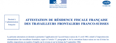 ATTESTATION DE RÉSIDENCE FISCALE  2041 AS